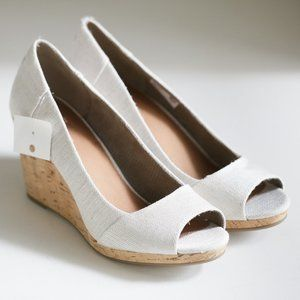 Toms Canvas Wedge  Off White Slip Ons Heels